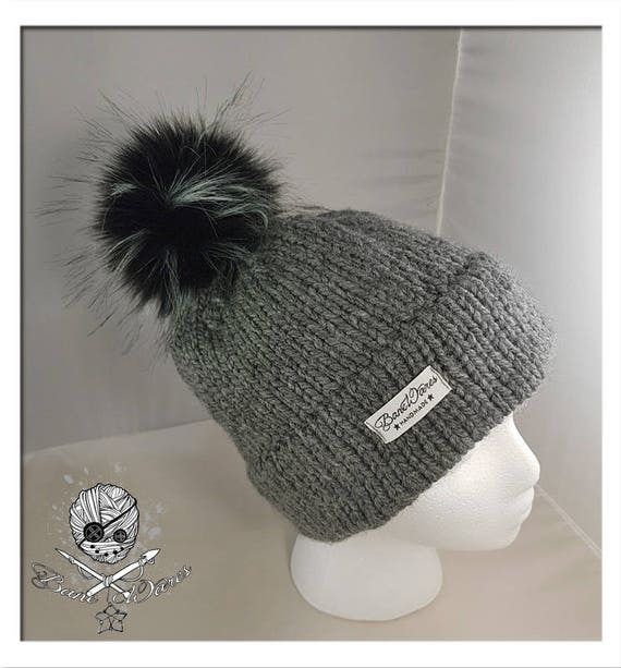 5da2906c6a1 Hand Knit Grey toque with pom-pom
