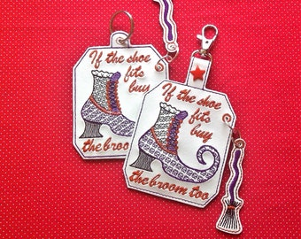 If the shoe fits buy the broom embroidery design snap tab key fob 4x4