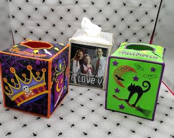 Tissue box holder holder  embroidery design Halloween box top design