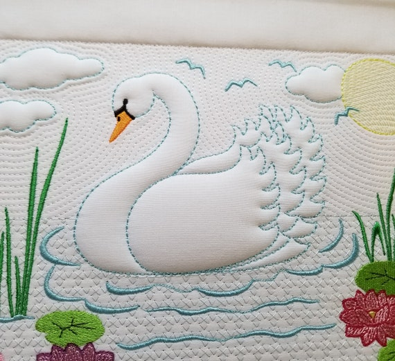 Swan Lake embroidery design 7x9 Pillow quilt tote t-shirt