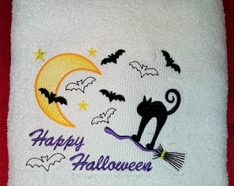 Batty Cat complete towel and topper complete set embroidery designs.  4x4 and 5x7 towel w knockdown-towel holder-snap tabs