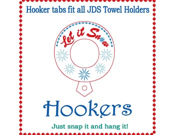 Let it snow towel Hooker tab embroidery design.  ITH  fits the 4x4 hoop, towel holder snap tab