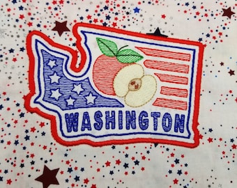 """USA Washington State applique embroidery design 4"""" and 5"""" sizes.  SVG cut files included"""