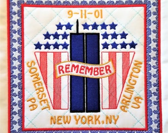 Patriotic Twin Towers quilt block embroidery design.  4 sizes - 4-5-6-8 inch QAYG