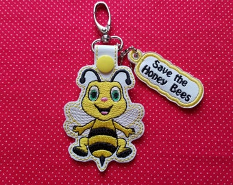 Honey bees fobs and endangered charm ITH embroidery design - 4x4 fob and snaptab with honey bee  charm
