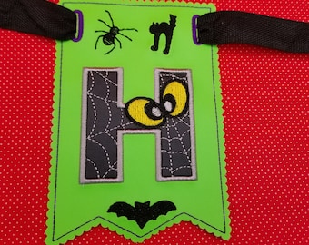 Spooky Spider alphabet embroidery designs.   BX files included. Bonus Spooky banner free