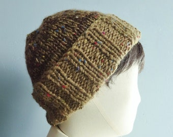 7bb17f45616 Large Brown Chunky Hand Knitted Beanie