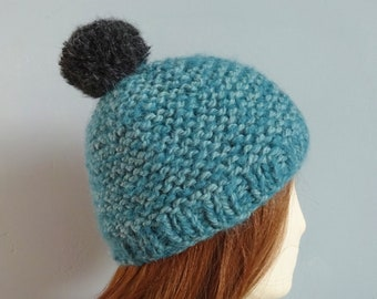 cb210a7b3c5 Sea green chunky bobble hat