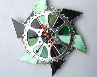 Stained glass recycled bike gear clock
