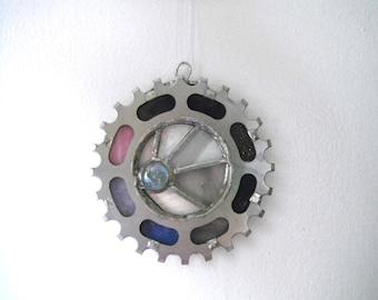 Recycled bike gear suncatcher