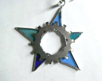 Recycled bike gear star Christmas ornament