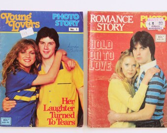 Vintage 80s Teen Romance Photo Story x 2 magazines Young Lovers - English - comic style