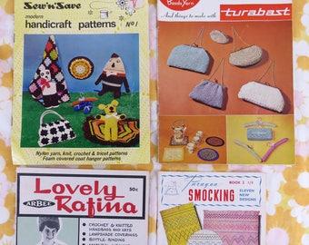 4 x vintage 1960s craft pattern books -  tea cosies lamps bags coat hangers toys smocking etc