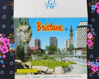 Vintage 70s photo fold out Brisbane Queensland retro souvenir postcard - Sunshine State