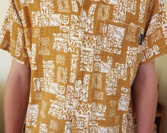 Vintage 90s barkcloth Hawaiian Stussy shirt - size medium - Made in Australia