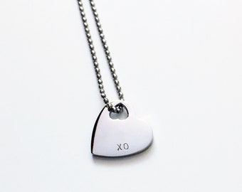 Handstamped Petite Heart Necklace, Personalised Necklace, Stainless Steel, Name Necklace, Girls Necklace, Bridesmaid Gift, Mum Mom necklace
