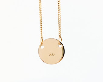 Handstamped Petite Disc Necklace, Personalised Necklace, Layered Necklace, Name Necklace, Initial Necklace, Mother's Day gift, Mum Necklace
