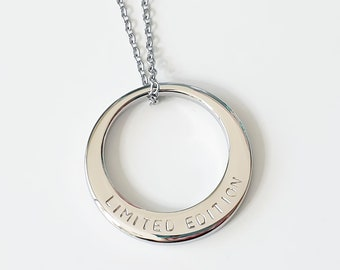 Handstamped Medium Circle Necklace, Personalised Necklace, Family Name Necklace, Stainless Steel Necklace, Mothers Day Gift, Mum Necklace