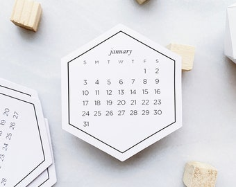 2022 Calendar Stickers • Month Stickers for Bullet Journals and Planners • Hexagon Sticker