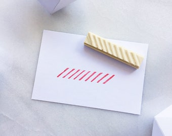 Lined pattern rubber stamp, hand carved rubber stamp, diagonal lines, thin lines