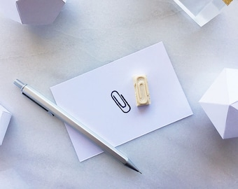 Paper clip rubber stamp, hand carved rubber stamp, paperclips, stationery, diy