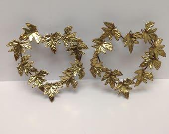 Midcentury Gold Metal Leaf Wall Hangings, Pair Vintage Leaf Plaques,  Hollywood Regency Metal Heart Wall Hangings, Metal Leaf Wall Art