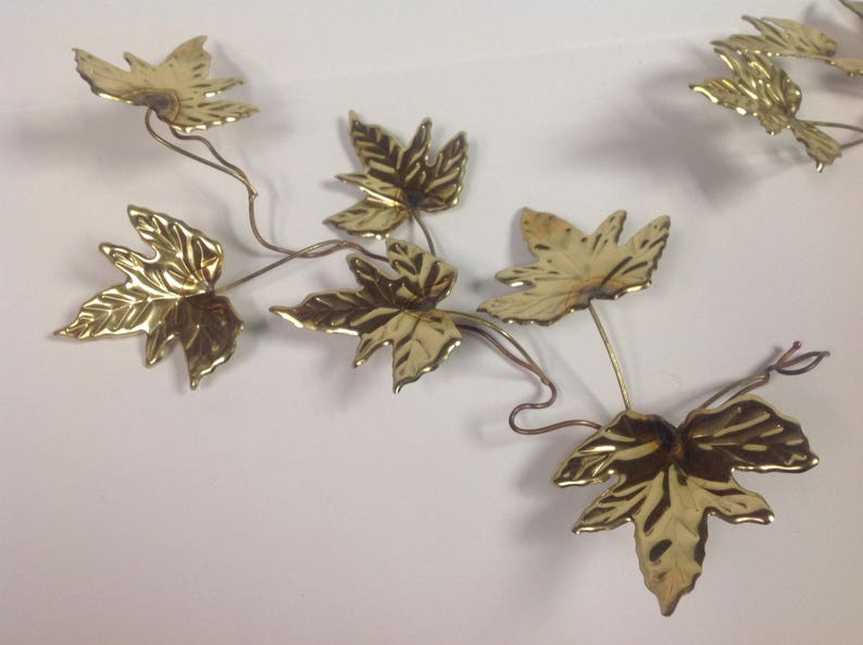9b0ac413e1e Pair MidCentury gold metal leaves wall hanging vintage gold | Etsy
