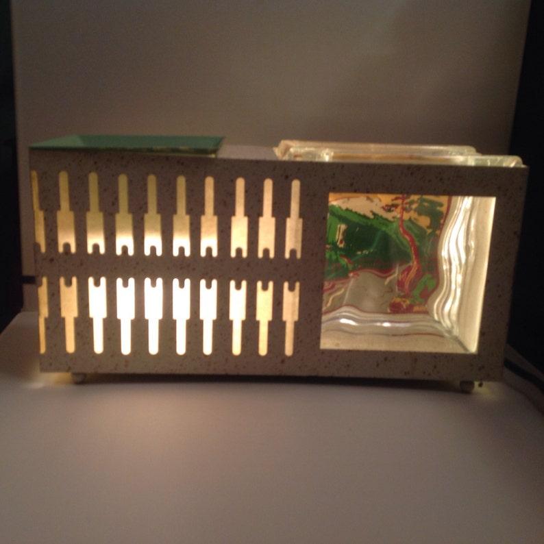 Rare vintage TV lamp with fish bowl aquarium and planter ...