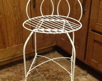 Midcentury White Metal Vanity Chair, Vintage White Metal Vanity Makeup Chair,  Bathroom Powder Room Bedroom Vanity Chair