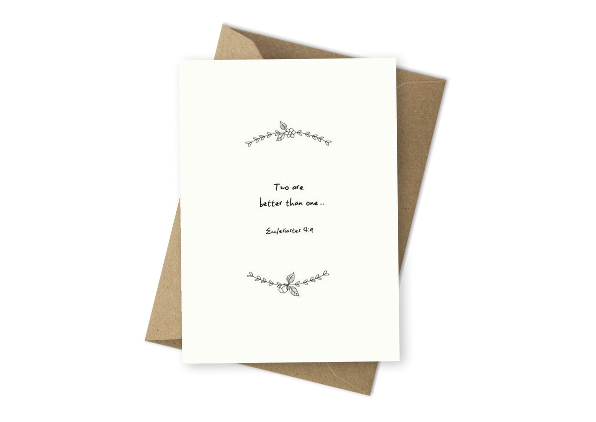 Christian Greeting Cards Ecclesiastes 49 Two Are Better Than Etsy