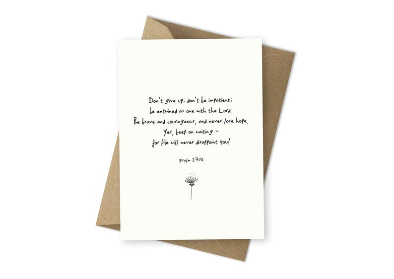 Encouragement Cards Psalm 27:14 Christian Greeting Cards Bible Verse Cards  Kraft Envelope The Passion Translation Cards