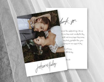 Rustic Wedding Thank You Cards Printable Photo Card Thank You Postcard
