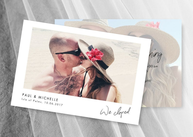 Elopement Announcement Simple Tropical Wedding Invitation Template Elope Invitation