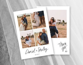 Rustic Wedding Thank You Cards Photo Printable Card Template