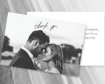 Rustic Wedding Thank You Cards with Photo Card Printable Template