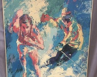 LeRoy NEIMAN, Art Print chromolithograph On Masonite Olympic Games, 1979 SKIER and Track Runner.