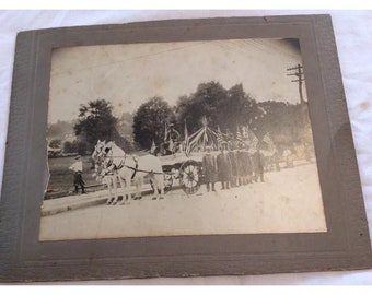 Vintage Independent FIRE DEPARTMENT Parade Photograph Horses Bicycles C 1922