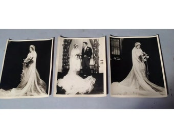 Lot of 3 Vintage 1920s 8X10 Art Deco BRIDE & GROOM Photos Same Bride