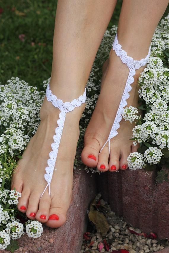 af863e282e03 Crochet barefoot sandals Beach wedding shoes Wedding Barefoot