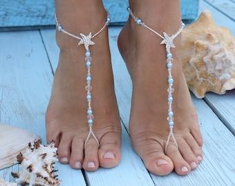 Barefoot sandals,Starfish beaded barefoot sandals,Flower girls barefoot sandals,Beach wedding barefoot sandals,Bridal barefoot sandalsAnklet