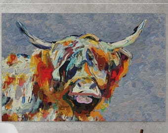 MooDonna, Highland Cow oil painting, Canvas print, Highland Cow Print, Cattle, Abstract painting, Abstract art, Scottish Cow, Cow Art-922