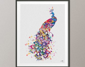 Peacock Watercolor Art Print Peacock Painting Peacock Bird Art Print Wall  Art Poster Giclee Wall Decor Art Home Decor Wall Hanging [NO 765]