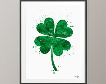Personalised Word Art Four Leaf Clover Print Shamrock Good Luck Leaving Gifts
