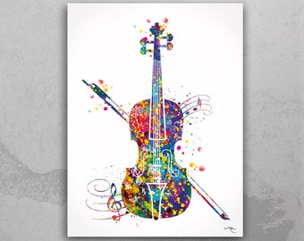 violin poster Violin sheet music watercolour print musical poster violin wall art violin watercolor,Violin music 2 fx sheet music print.