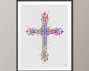 3bd19a92f7894 Cross Christian Symbol Religion Symbol Watercolor Art Print Wall Art Poster  Easter Gift Baptism Wall Decor Art Home Decor [NO 710]