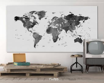 Large world map etsy world map watercolor world map black white push pinworld map extra large world map travel map wall decor wall hanging wanderlust 962 gumiabroncs