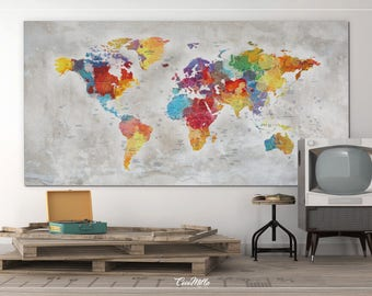 Large world map etsy push pin world map extra large world map canvas print push pin travel map rustic world map wall hanging wanderlust travel love 858 gumiabroncs Image collections