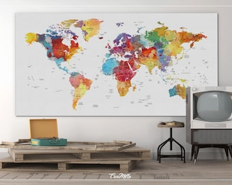 World Map Push Pin, Extra Large Canvas Print, Watercolor World Map, Push  Pin World Map, Push Pin Travel Map, Wall Decor, Wall Hanging 854