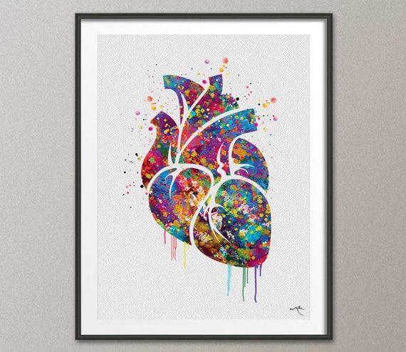 Brain Anatomy Watercolor Print Painting Wall Art Giclee Geekery Nerd Art Wedding