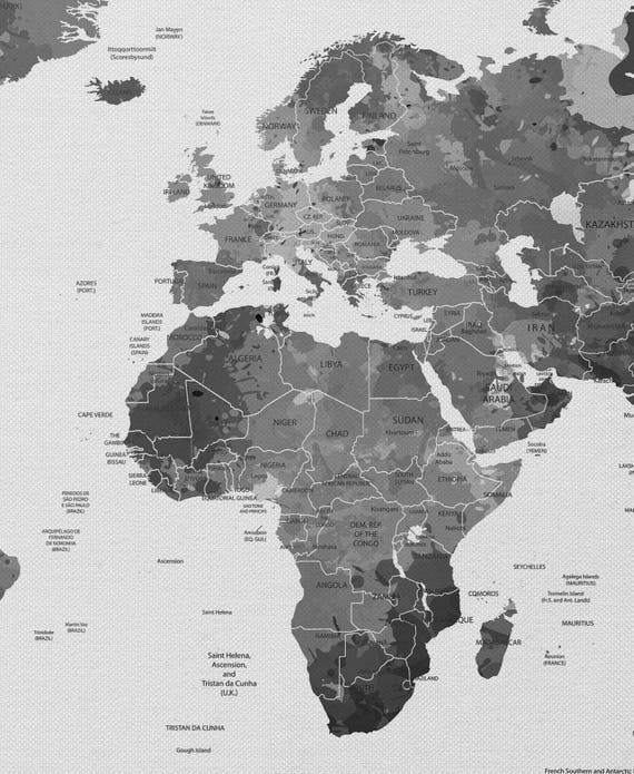 World Map, Watercolor World Map, Black White Push PinWorld Map, Extra Large  World Map, Travel Map, Wall Decor, Wall Hanging, Wanderlust-962
